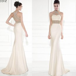Wholesale Tarik Ediz Mermaid Evening Dresses High Neck Gold Beading Backless Pageant Runway Dress Gowns For Women