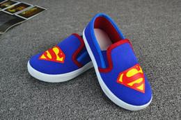 Wholesale 12 pares de zapatos de Spiderman Superman Chicos Cartoon niños Calzado deportivo Superhero niños zapatos zapatos niños zapatos de lona ocasionales para el muchacho