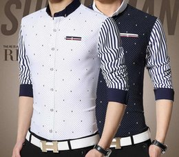 Wholesale men shirt fashion high quality men s casual shirts spring new male long sleeved striped stitching small dot printing