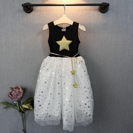 Discount cotton gauze patterns Summer New Girl Dress Five-pointed star pattern sleeveless lace Gauze Princess TuTU Dress kids clothing C001