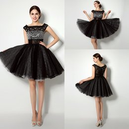 Wholesale 2015 Real Pictures In Stock Prom Evening Dresses Scoop Neck Mini Short Crystal Black Tulle Party Dresses