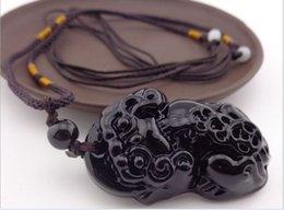 Wholesale NEW Natural Obsidian pendant lucky men brave evil men Necklace troops black ebony car key ring Trinket chain gift