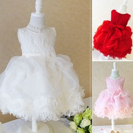 Wholesale 2015 wedding flower girl dresses red pink white festive colors party dress with a big flower bow hot selling