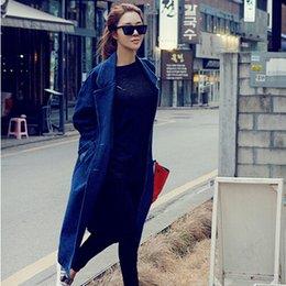 Wholesale Hitz Korean stylenanda Shopping handsome lapel long denim coat jacket Korean version