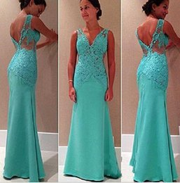 Wholesale New mother off bride dresses fashion Blue lace Long Ball Prom Gown Formal Bridesmaid Dress party evening dresses V367