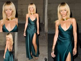 Wholesale Cheap Evening Gowns Rihanna Celebrity Dress V neck Spaghetti Straps Sexy Backless Long Evening Dress with Slit Side Floor Length Under