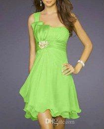 Wholesale 2015 Beach A line Short One Shoulder Lime Green Bridesmaid Dress Wedding Party Dress Birthday Knee Length bridesmaid wedding dresses A124