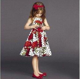 Wholesale HOT Summer kids costume Europe and America style pattern girls princess dresses fashion sweet big flowers children Condole belt dress ab736