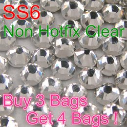 Wholesale High Quality Cheap Price DMC Non Hotfix Rhinestone Buy Bags Get Bags SS6 Clear Crystal FlatBack Crystal Stones DIY