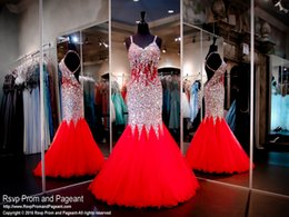 Wholesale Red Mermaid Long Prom Dresses Backless Strapless Straps Ruffles Tulle Rhinestone Sexy Women Pageant Evening Dress Custom Made Plus Size