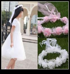 Wholesale New Lovely Headpiece To Match Flower Girl Dress Princess Garland Flower Girl Headband For Wedding Pink White Flower Girls Hair Accessory QM