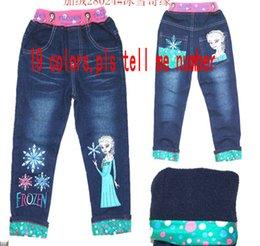 Wholesale 2015 Children Frozen Jeans Winter Thicken Warmer frozen pants Children s jeans plus velvet Child Casual Pants Fashion Long Trousers19 colors