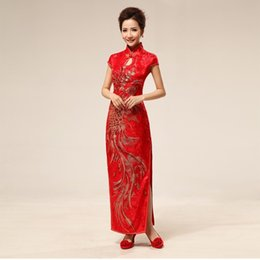 Wholesale Chinese Traditional Dress Red Peacock embroidery qipao dress phoenix embroidery cheongsam long chinese dress QP63