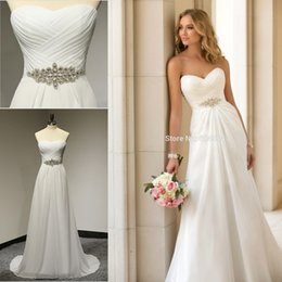 Wholesale 2015 New Stock White Ivory Champagne Chiffon Pleat Beading Crystal US Size Wedding Dress H2