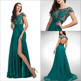 Wholesale Sheer Jewel Neck Short Sleeves Prom Dresses Long Formal Party Chiffon Pleated Corset with Side Split Lace Sweep Train Hollow Evening Gowns
