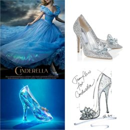 Wholesale 2015 New Cinderella Glass Slipper Shoes Diamond Point Single Shoes Prom Shoe Cinderella Shoe in Women Wedding Shoe