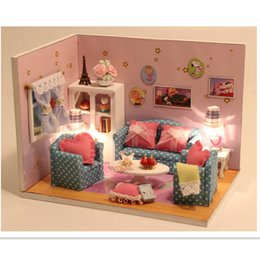 2016 handmade diy wooden doll house with furniture sweet together house miniature toys for children friends gift free shipping affordable dolls house affordable dollhouse furniture