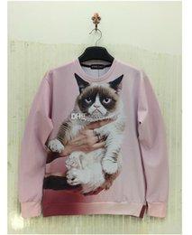 Wholesale Fashion Harajuku style Women Men Punk Clothes Grumpy Pink Angry Cat Show D Effects Hoodies Sweatshirts Sweat Coat Tops