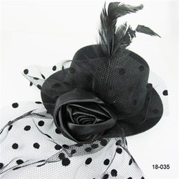 Wholesale Cheap Women Girls Black Red Flower Organza Feather Hair Clip Mini Top Hats Hair Accessories Party Cocktail Caps Bridal Hats Chrismas