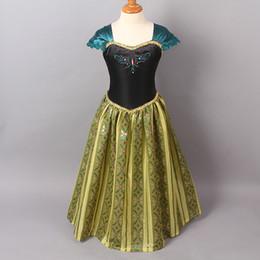 Wholesale 2015 Frozen Anna Coronation Dress Embroidery Frozen Girl Dresses Kids Halloween Party Dress Frozen Elsa Costumes