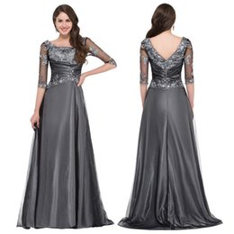 Wholesale Grace Karin Sleeve Square Neck Mother of the Bride Dresses V Back Pleated Waist Ball Gown Evening Prom Party Dress GK000029