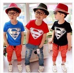 Wholesale Children Short Sleeve T Shirt Boy Superman T Shirt Kids Cartoon T Shirt Tops Children Clothes L1DB65