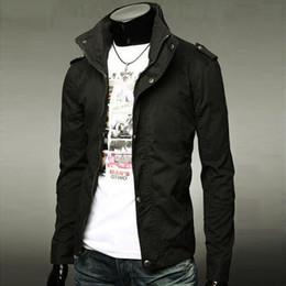 Wholesale 2015 Hot Spring Men s Blazer Leisure Stand Collar Fashion Slim Fit Casual Suit Top Jacket Colors M XXXL