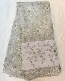 Wholesale Hot sale wedding lace material in silver white African net lace fabric with sequins French organza lace fabric QN8