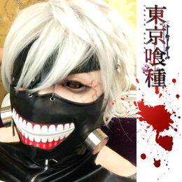 Wholesale Anime Cartoon Tokyo Ghoul Cosplay Wigs white color Ken Kaneki Hair Free Cap