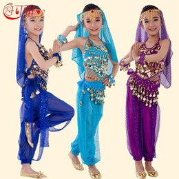 Wholesale New Handmade Children Belly Dance Costumes Kids Belly Dancing Girls Bollywood Indian Performance Cloth Whole Set Colors