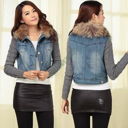 Wholesale Lowest Price New Woman Winter Jean Denim Fur Collar Knitted Sleeves Jacket Blazer Top Coat b7 SV005539