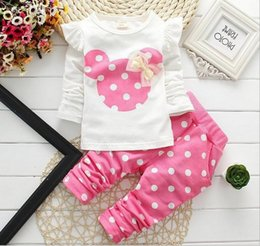 Wholesale Minnie Mouse Girls Baby Cartoon Suits Sets Long Sleeve Bow Tops Dots Pants Children Autumn Sports Casual Outfits Red Blue Pink K4530