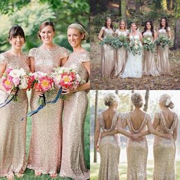 Wholesale 2015 Fairy Golden Sequins Bohemian Metallic Long Bridesmaids Dresses Cap Sleeves Sheath Formal Wedding Party Prom Gowns Under Plus Size