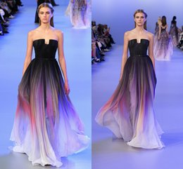 Wholesale Valentino Elie Saab Evening Dresses Prom Graduate Color Strapless Sweep Train sunset glow Sash Pleats Modern Party Pageant Dresses Gown