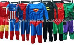 Wholesale Hot Sale New Children s Muscle style costume Cosplay Halloween Superman Iron Man Hulk Captain America Batman Spider man Robin