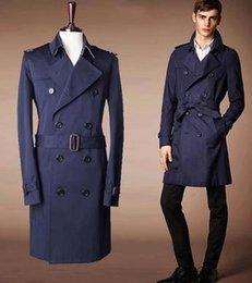 Queda-de moda azul marca casaco casacos trench longo macho trespassado para homens encobrir coat Casacos sobretudos masculino casaco Longo