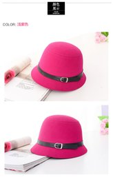 Wholesale Promotional New Vintage Women Ladies Cloche Bucket Fedora Felt Wool Bowler Wide Brim Hat Casual Cap Candy Colors