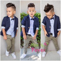 Wholesale 2015 Newest Children Clothing Set Baby Boy Suits Long Sleeve Dark Blue Suit Strip Shirt Pants Set Outfits Baby Boy Cool Handsome Cloth