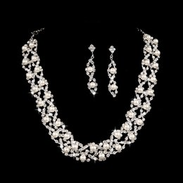Wholesale 2015 Bridal Jewelry Earring Necklace Wedding Two Pieces Set Pearls Accessories