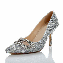 Discount White Silver Beaded Heels  2017 White Silver Beaded