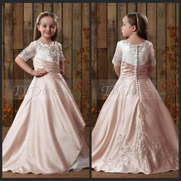 Wholesale Sparkly Bling Custom Made Toddler Little Ball Gown Girls Pageant Dresses for Little Girls Flower Girl Dresses for Weddings Gowns
