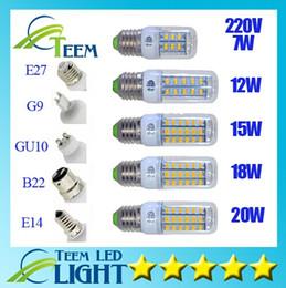 SMD5730 E27 GU10 B22 E14 G9 lampe LED 7W 12W 15W 18W 220V 110V 360 angle SMD Ampoule LED maïs Led 24LED