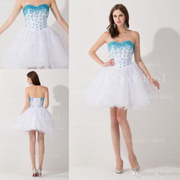 Wholesale 2015 Sweetheart Rhinestone Beaded Cheap Homecoming Dresses Tulle Tiered Ruffles Short Mini Lace Up Back Party Formal Cocktail Gowns CPS051