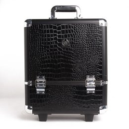 Wholesale Retail The Body Shop Classic Aluminum Makeup Case Rolling Cosmetic Case Makeup Trolley Case Crocodile Pattern