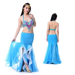 Wholesale Ladies Double Slits Dancing Skirt Irregular Hemline Chiffon Dancewear Latin Belly Dance Yoga Apperal t302