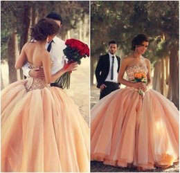 Wholesale 2015 New Quinceanera Dresses Strapless Coral Organza Crystals Beaded Laces up Back Ball Gown Debutante Dress vestidos de ga Ball Gowns