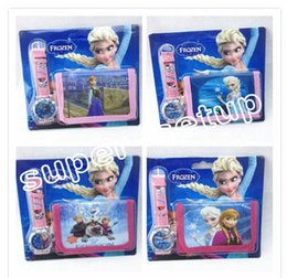 Wholesale Frozen Anna Elsa Sets Watch and Wallet in Purse Kids Fashion Quartz Cartoon Candy Cute Lovely Boy Girl Children Watch SHB11
