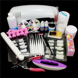 Wholesale New Nail Art UV Gel Kits Tool UV lamp Brush Remover bridal Nail Tips Glue Acrylic kit set