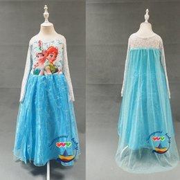 Wholesale 50pcs Frozen Princess Dress Costume Girl Dress Elsa Dress A line White Lace Frozen Fever Dress Party Girl Cosplay Clothes Dance Dress
