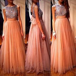 Wholesale Chiffon Long Prom Dresses Crew Sleeveless Champagne Beaded Crystal Backless A Line Floor Length Bridesmaid Dress Evening Party Gowns